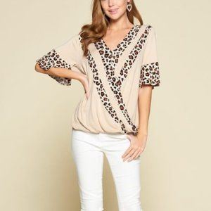 NEW BOUTIQUE LEOPARD TRIM CROSSOVER TOP BLOUSE